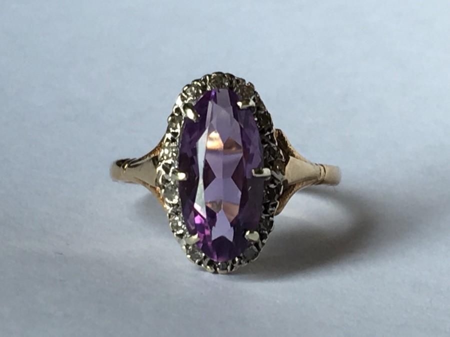 Vintage Amethyst And Diamond Ring In Yellow Gold 2 4 Carat