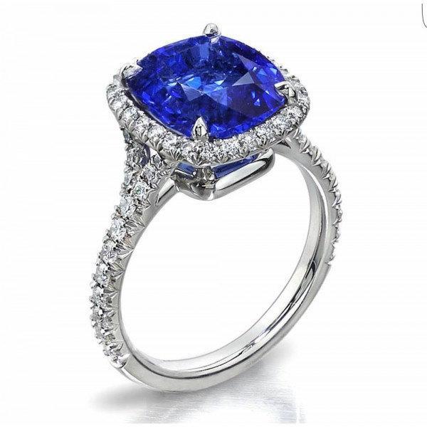 Mariage - 18K Diamond/Sapphire halo engagement ring