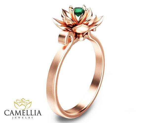 زفاف - Rose Gold Emerald Ring Rose Gold Engagement Ring Flower Engagement Ring