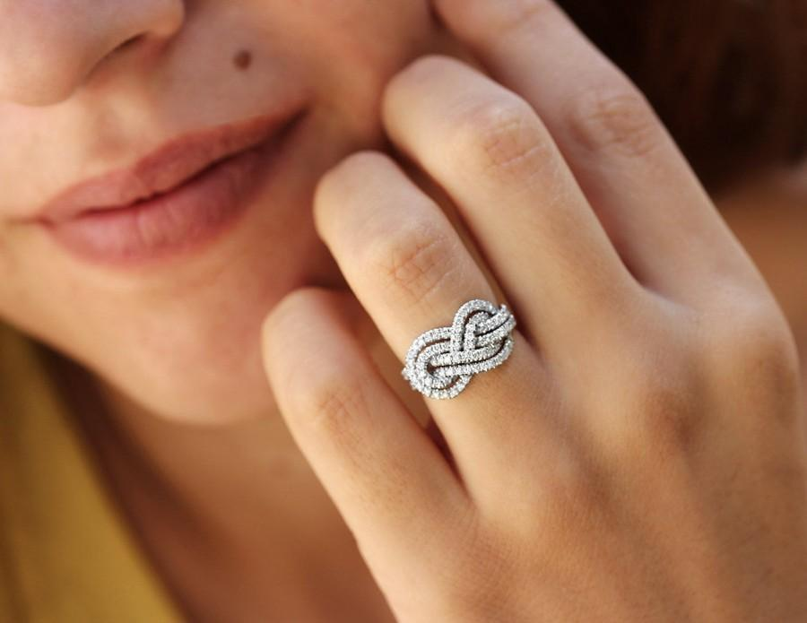 Wedding - Gold Wedding Band, Double Infinity Knot Ring, 0.75 CT Diamond Ring, Infinity Ring, Womens Wedding Bands, Unique Rings