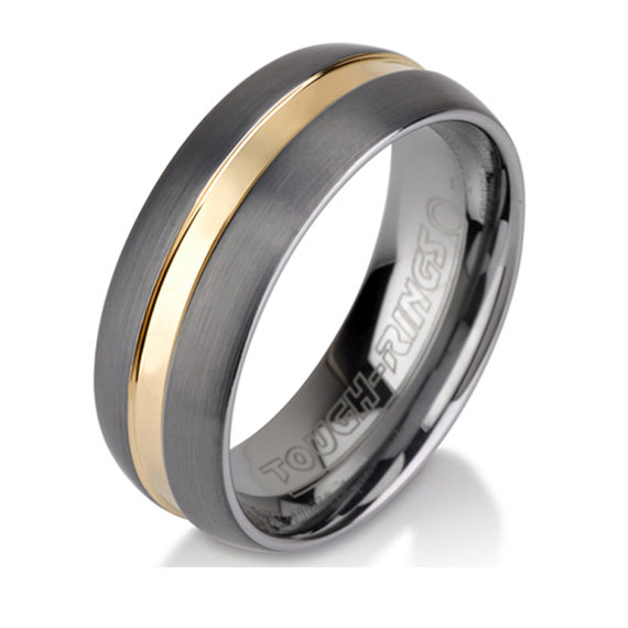 Unique Brushed Tungsten Ring Mens Wedding Band 8 Mm 14k Gold Plate Inlay All Sizes Comfort Fit