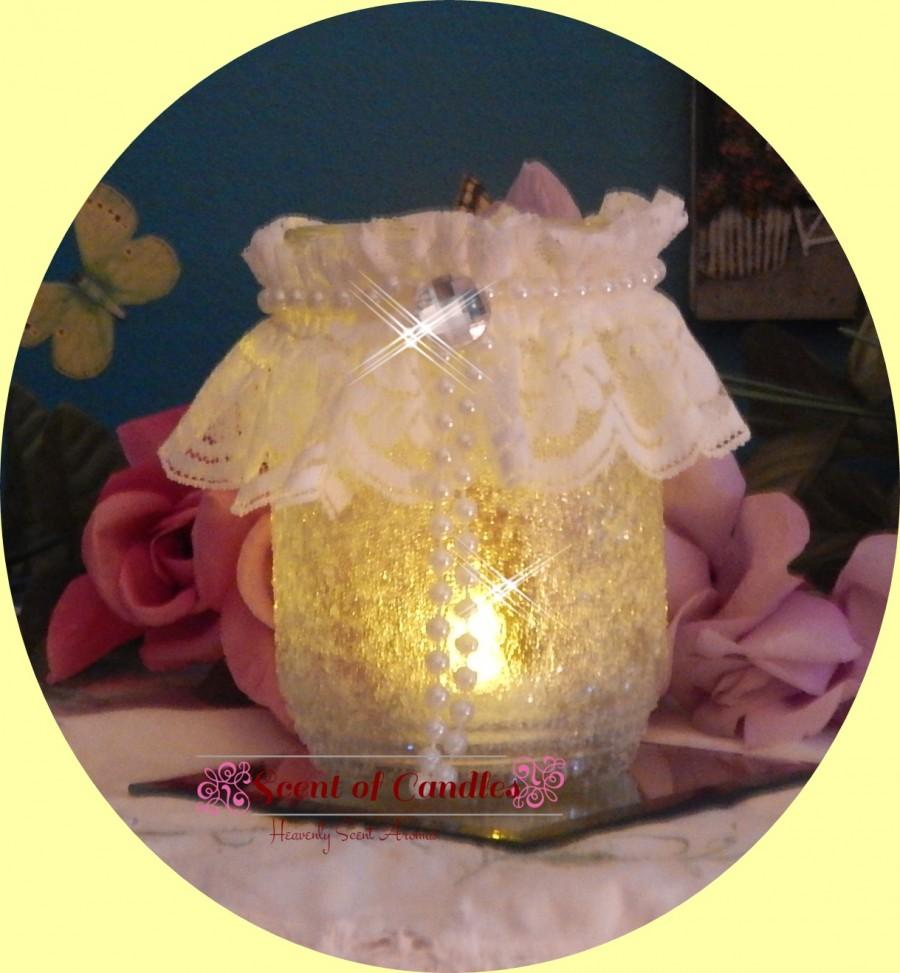 Wedding - Crystal Frosted & Lace Candle Holder wedding decor', reception ideas,
