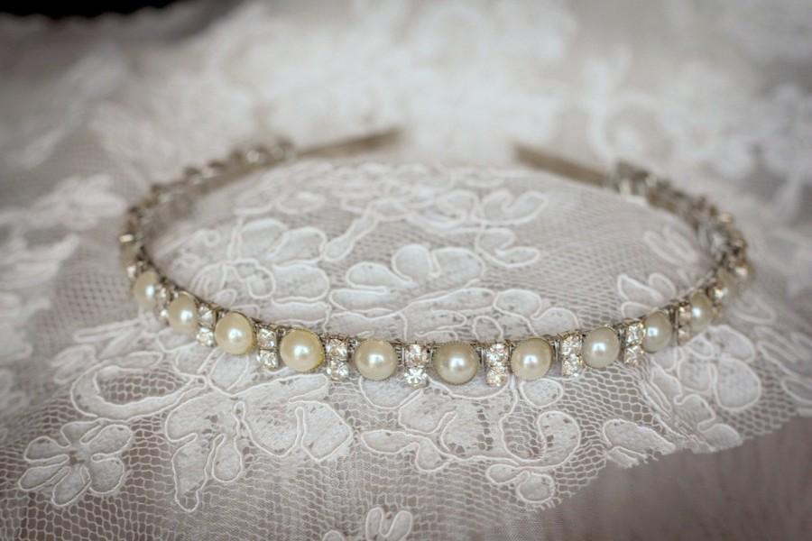 Mariage - Flower Girl  Headband  Rhinestones and Pearls-Elegant Prom Headband-Bridesmaid Headband- Flower Girl Headband