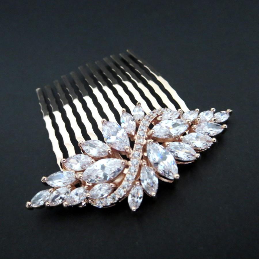 Mariage - Rose Gold Bridal hair comb, Rose Gold Bridal hair clip, Wedding hair comb, Crystal hair comb, Bridal headpiece