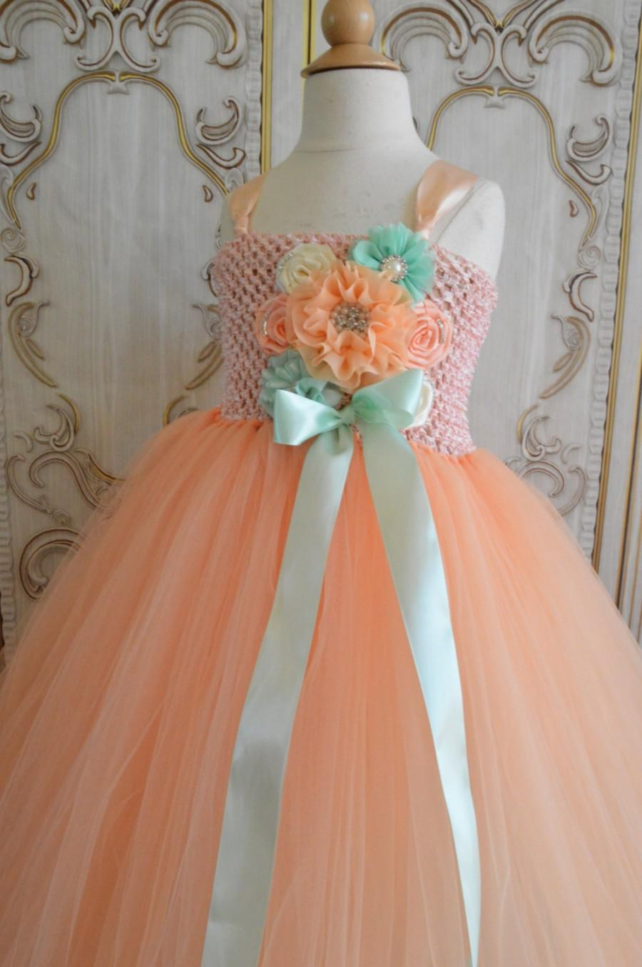 Wedding - Peach and mint flower girl tutu dress