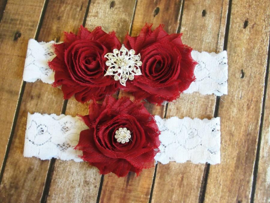 SALE Deep Red Wedding Garter Set Toss Lace Bridal White Burgundy Keepsake
