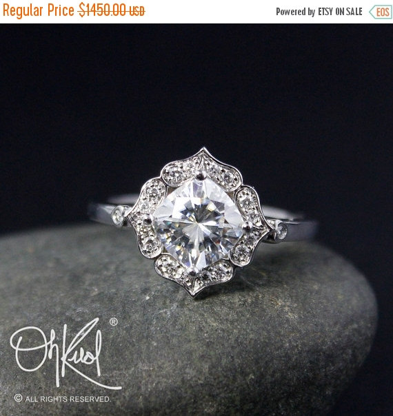 Hochzeit - VALENTINES DAY SALE Forever Brilliant Cushion Halo Diamond Engagement Ring - Vintage Flower Halo - Scallop Halo