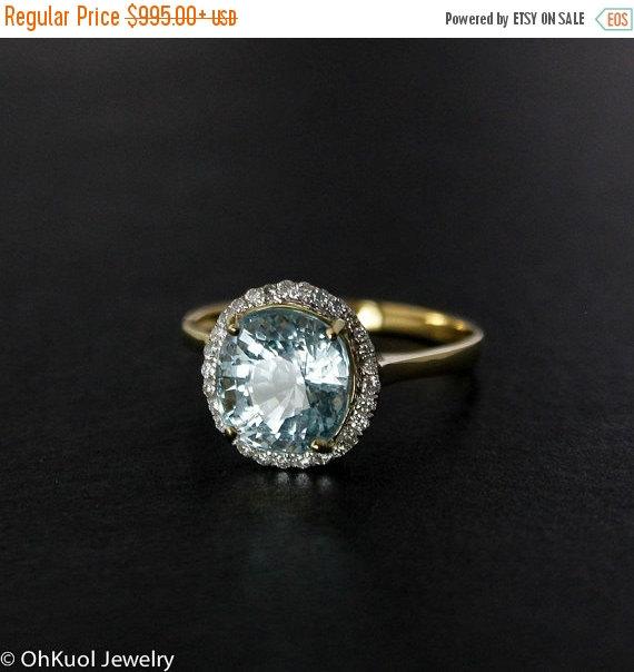 زفاف - VALENTINES DAY SALE Blue Aquamarine Engagement Ring - Pave Halo Diamond Setting - 14kt Gold