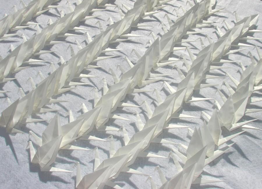 Свадьба - White Origami Cranes 100 Large Solid White Origami Paper  Cranes
