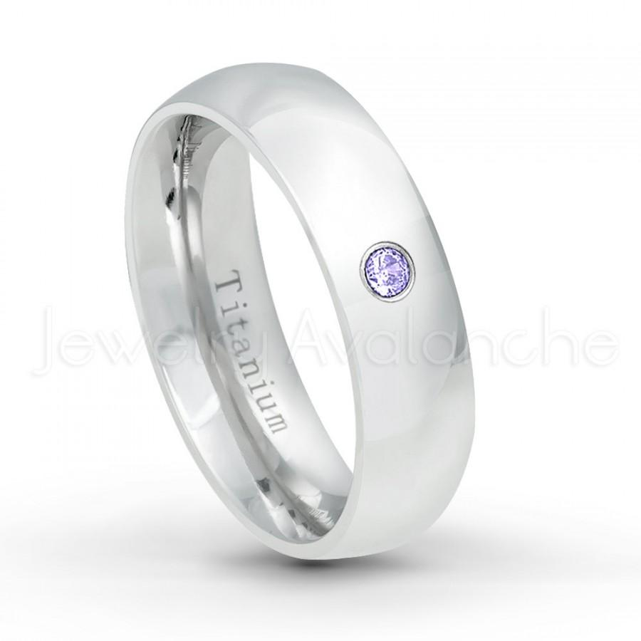 Mariage - December Birthstone Ring, Solitaire Bezel Set 0.05ct Tanzanite Titanium Ring, 6mm Polished Classic Dome White Titanium Wedding Band TM536TZN