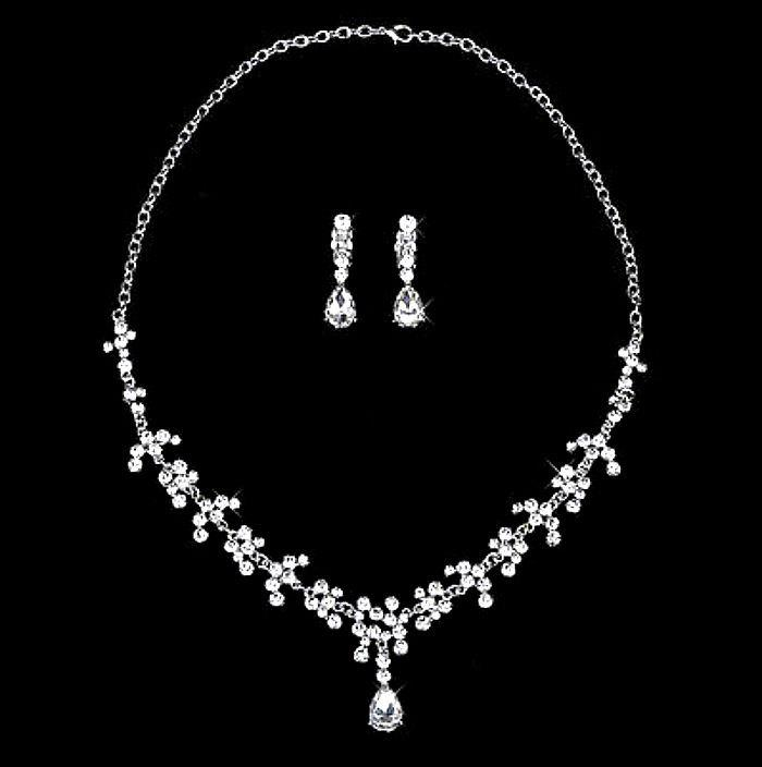 Mariage - Bridal Jewellery Set, Wedding jewellery Set, Crystal Necklace, Rhinestone Necklace and Earrings, Crystal Earrings, Bridesmaid Gift