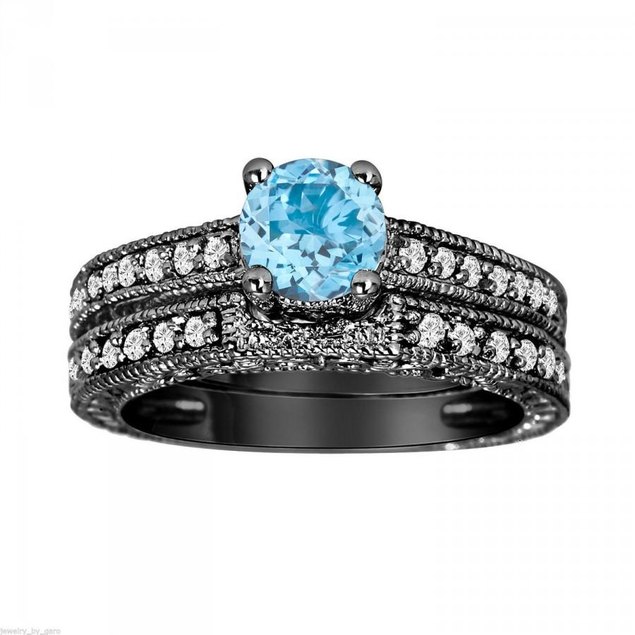 Mariage - Blue Topaz & Diamond Engagement Ring And Wedding Anniversary Diamond Band Sets Vintage Style 14K Black Gold 1.14 Carat HandMade