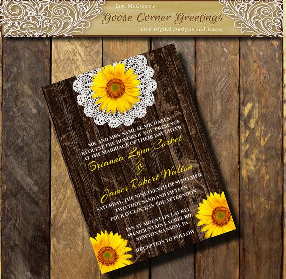 printable wedding invitation barnwood sunflower doily flower
