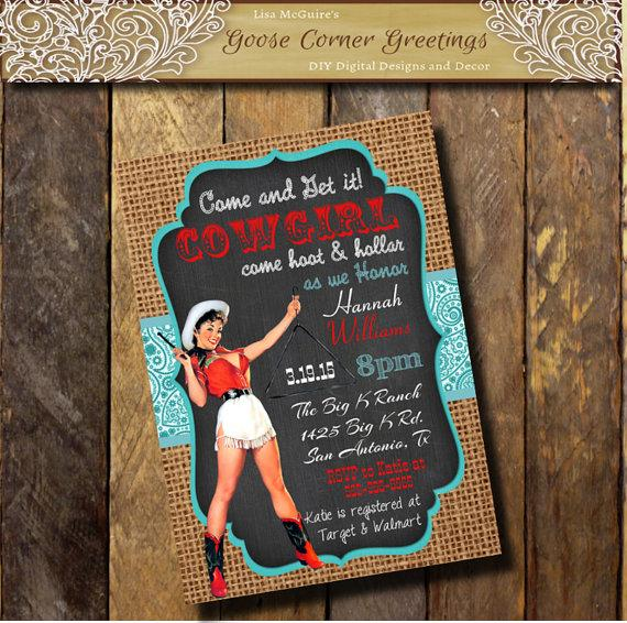 western pinup cowgirl bachelorette party invitation paisley chalkboard burlap country girl invitation western bridal shower invite rustic