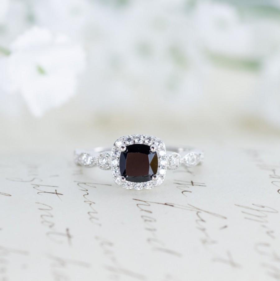 زفاف - Sale - Black Halo Engagement Ring  - Halo Ring - Wedding Ring - Promise Ring - Cushion Cut - Vintage Style - Art Deco - Sterling Silver