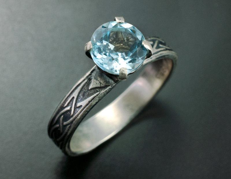 Mariage - Celtic Engagement Ring, Unique Solitaire Ring, Blue Topaz Solitaire, Unique Engagement Ring, Old World Style Silver Ring, Promise Ring