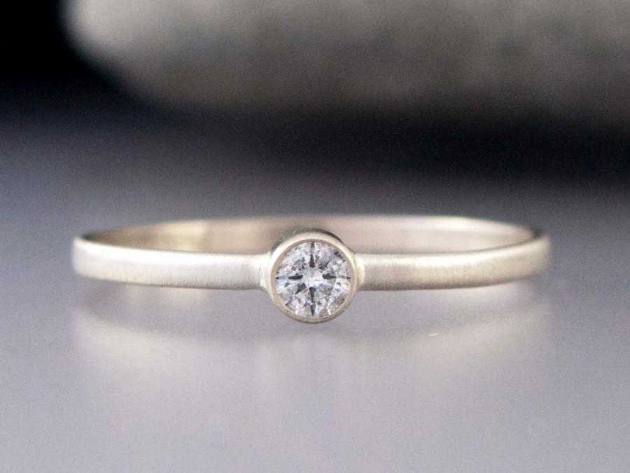 زفاف - White Gold Diamond Ring - Thin Engagement Ring with a 3mm Diamond in solid 14k white or yellow gold