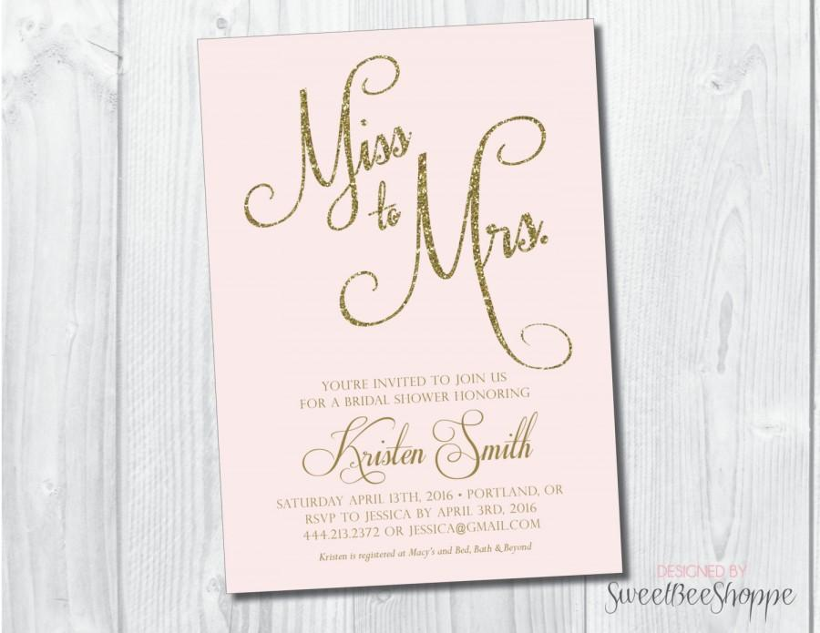 Mariage - Bridal Shower Invitation, Bridal Shower Invite, Miss to Mrs. Wedding Shower Invitation, Printable, Gold or Silver Glitter, Blush Pink, Mint