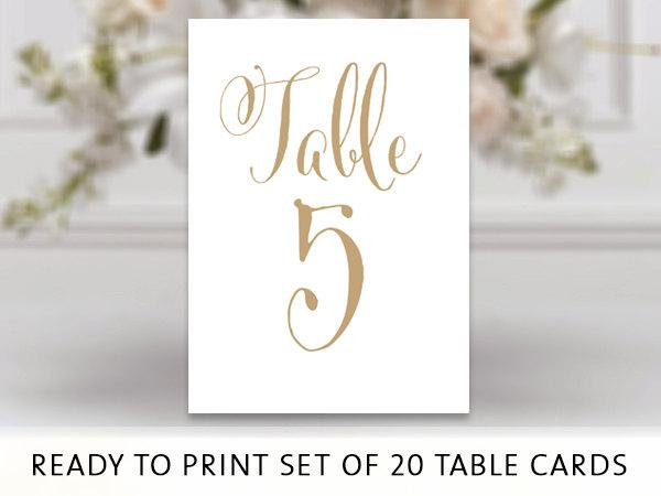 Wedding - Ready to Print Set of 20 Table Number Cards - Bella Antique Gold - PDF format - 4 x 6 Table Cards - You Print - Instant Download