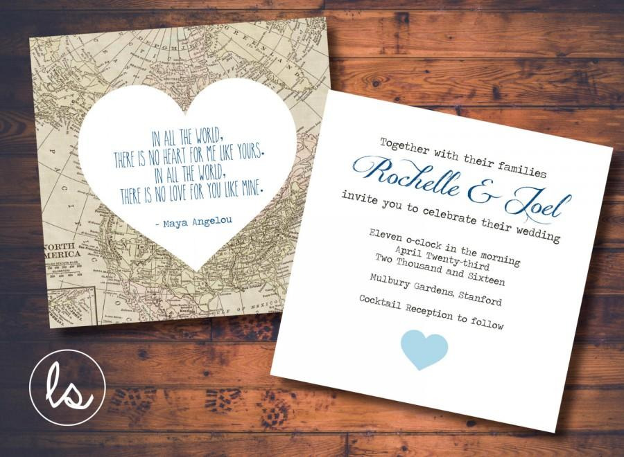 DIY PRINTABLE Vintage Map Wedding Invitation Destination Printed Invitations