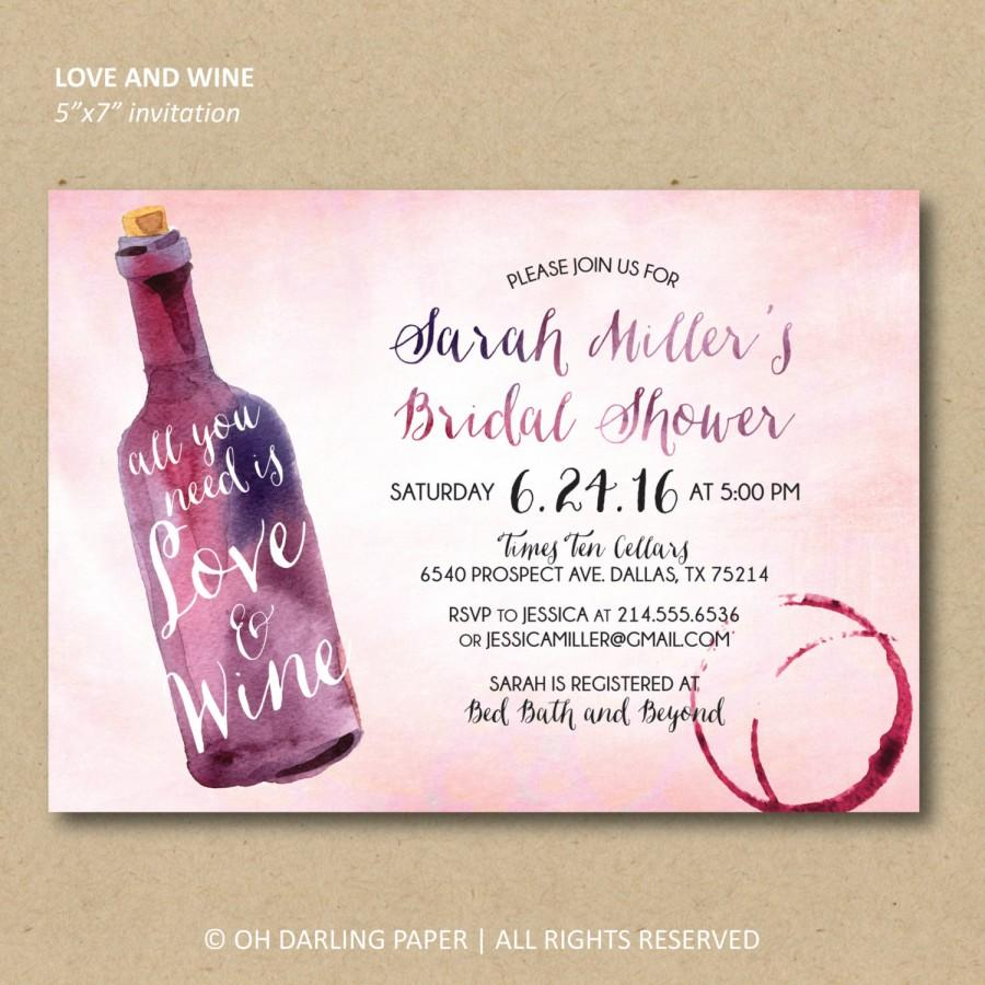 Düğün - Printable Bridal Shower Invitation. Wine shower invitation. Watercolor wine invitation. All you need is love and wine.