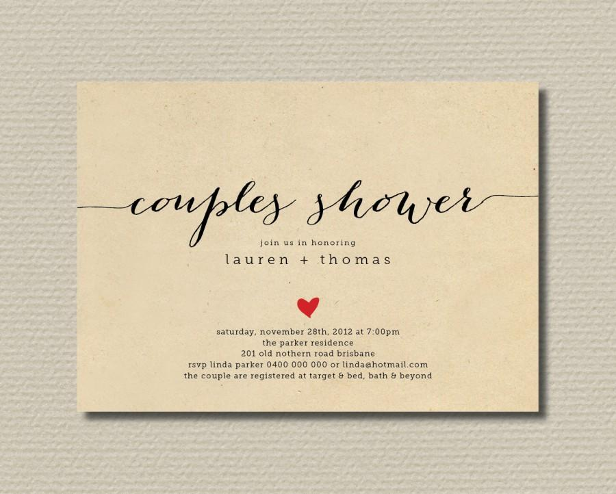 Hochzeit - Printable Couples Shower Invitation - Simple & Sweet Love Heart Design on Brown Paper Background (BR82)