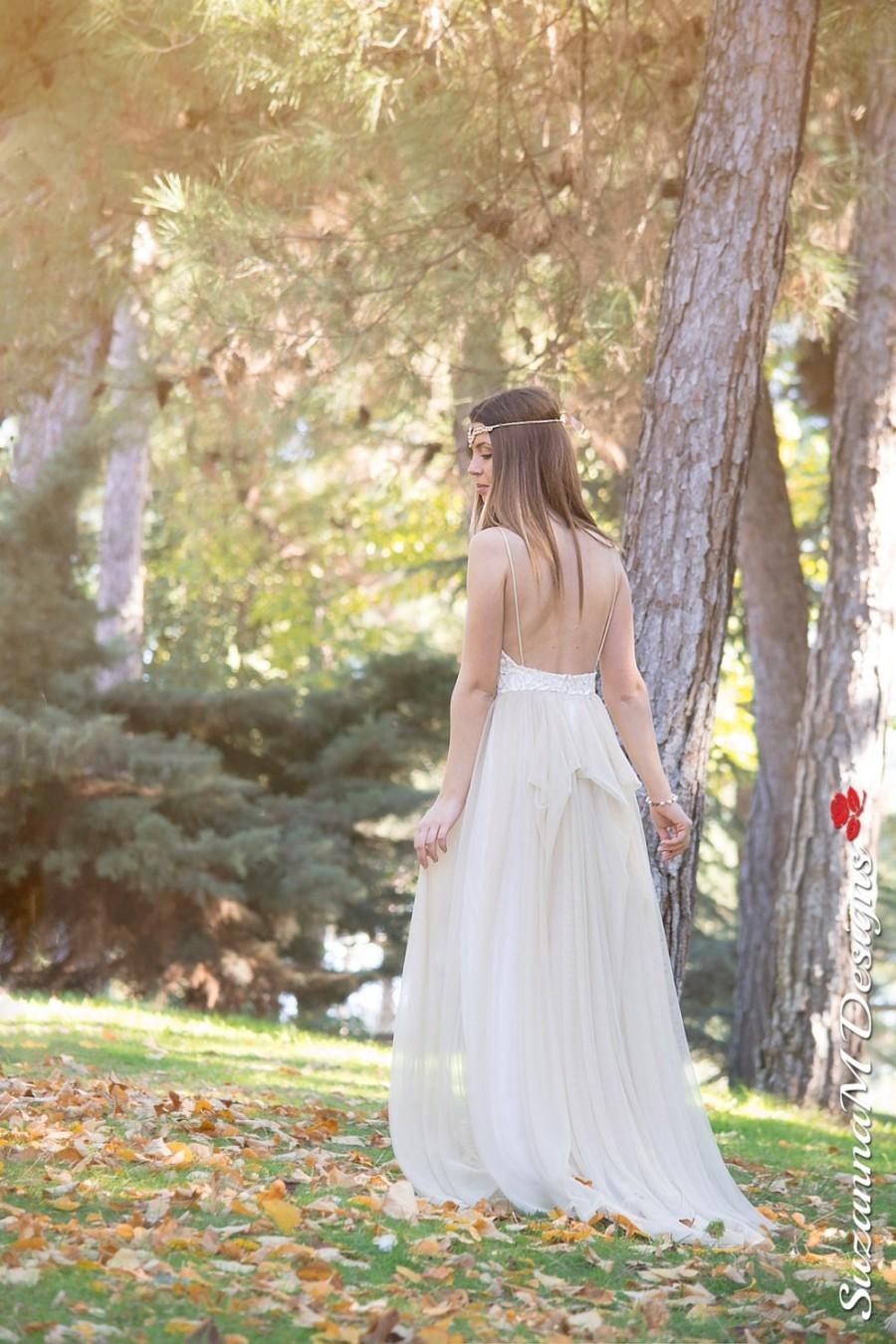 Wedding Dress, Long Fairy Wedding Gown, Romantic Wedding Dress, Gold ...