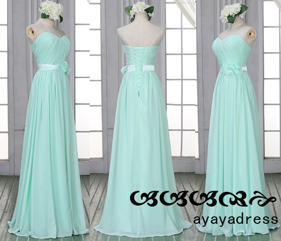 New Arrival Mint Green Long Bridesmaid Dress Prom Chiffon Custom Color Size Elegant Formal Strapless Sweetheart