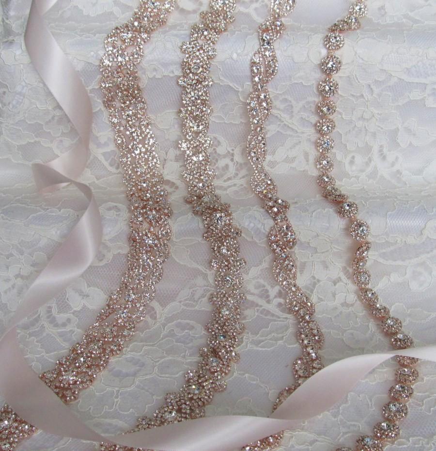 Mariage - SALE,Mis Matched Bridesmaid Sash Set of 4,Rose Gold Crystal Rhinestone Bridesmaid Sashes,Wedding sash,Bridal Accessories,Bridal Belt,Ribbon