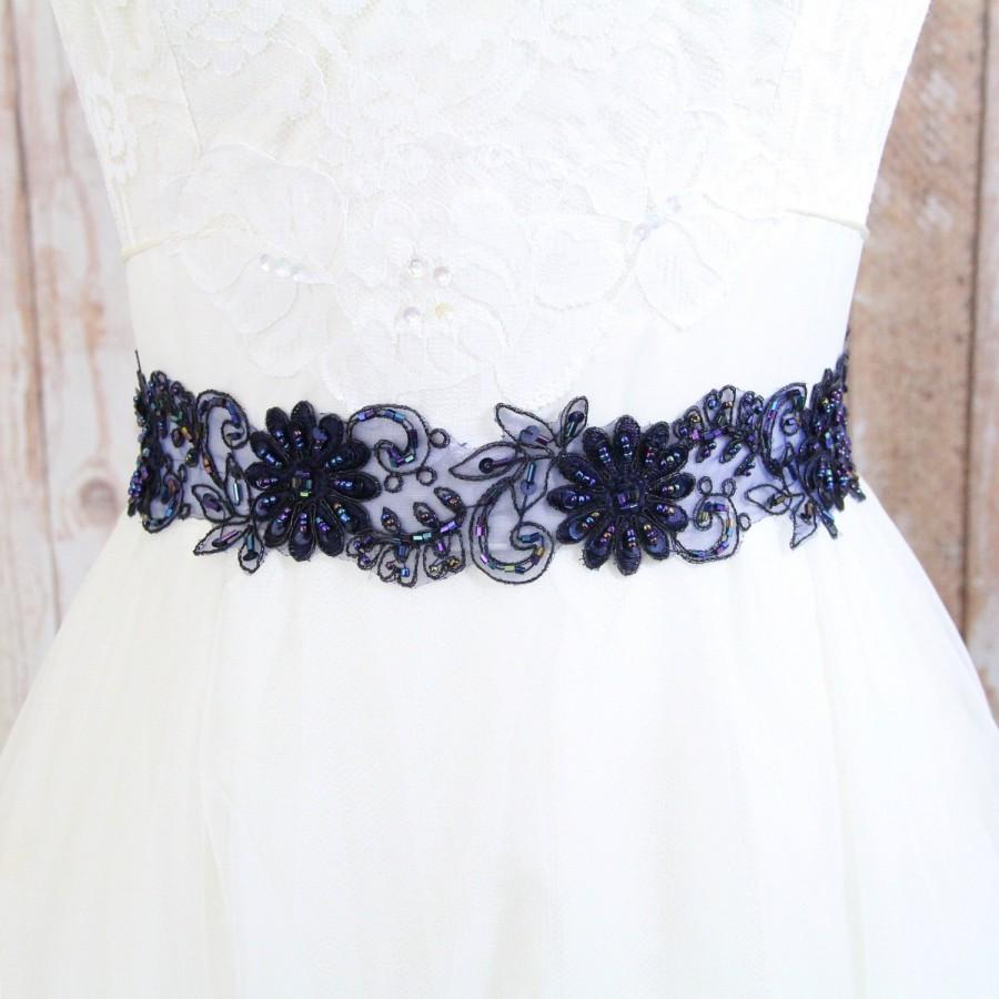 Navy beaded lace with navy satin ribbon sash bridal sash for Blue sash for wedding dress
