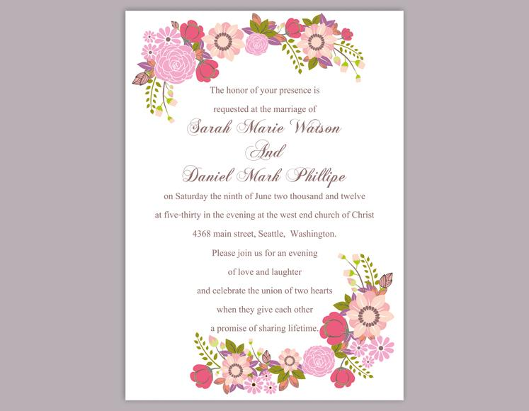 DIY Wedding Invitation Template Editable Word File Instant Download - Wedding invitation templates: editable wedding invitation templates