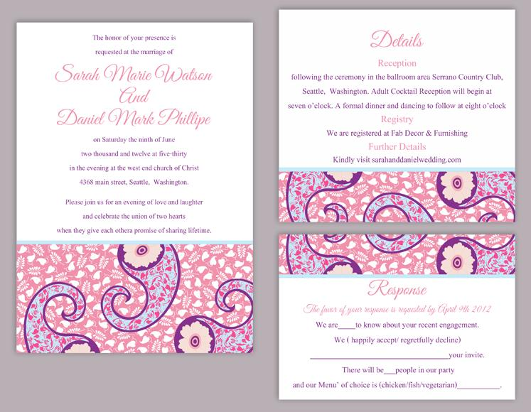 diy bollywood wedding invitation template set editable text word