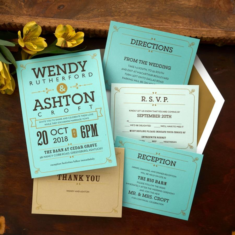 Vintage Wedding Invitation Set - Thermography Wedding Invite ...