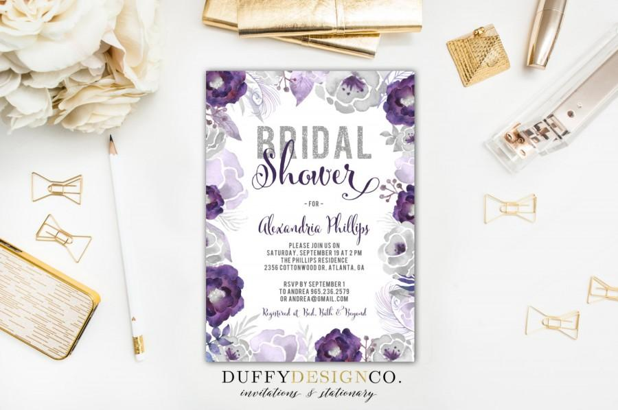 DIGITAL Bridal Shower Invitation Purple Gray Silver Glitter Watercolor Flowers
