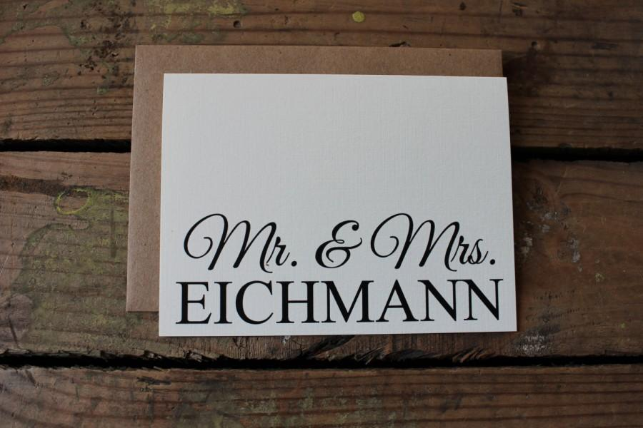 Hochzeit - Wedding Thank You Cards with Envelopes / Custom New Last Name / Shower / Couples / Set of 10