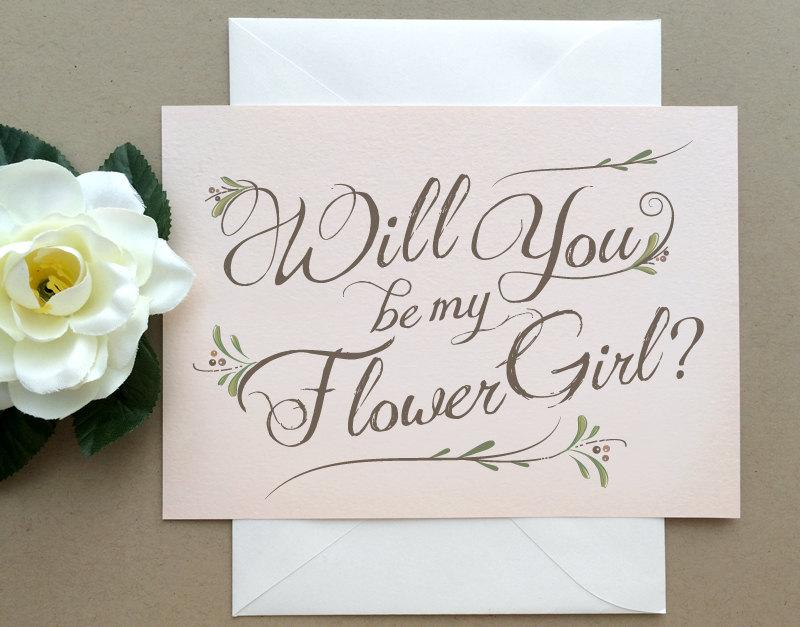 Свадьба - Blush Flower Girl Card -  Blush Pink Will You Be My Flower Girl Card -  Wedding Party - Bohemian Chic Blush Pink - Rustic Wedding Party Card