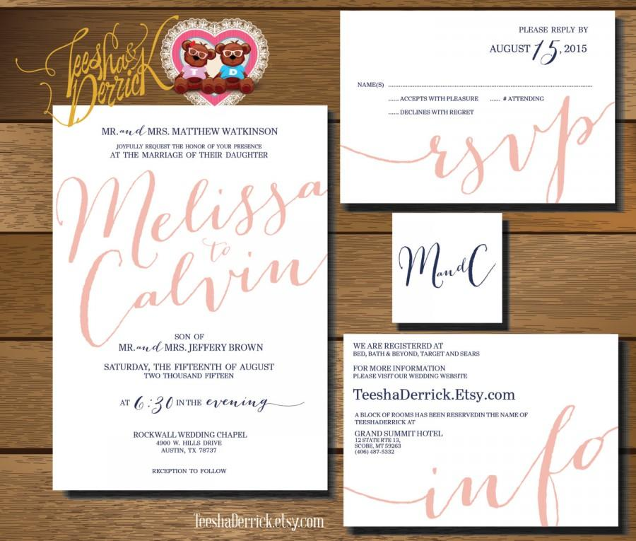 Printable Wedding Invitation Suite (w0321), Consists Of Invitation ...