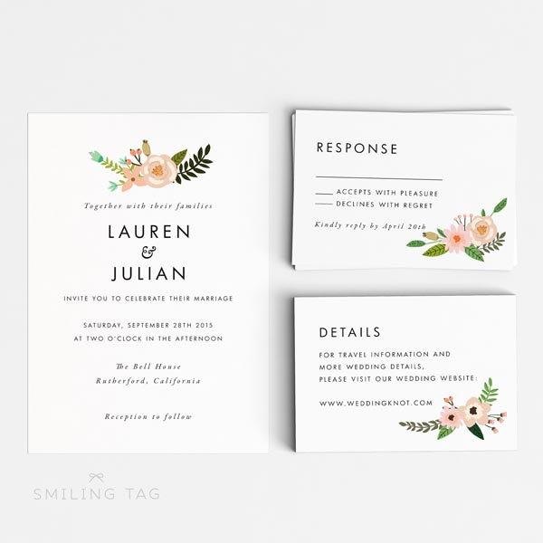 Printable Wedding Invitation Set  Romantic Floral Wedding