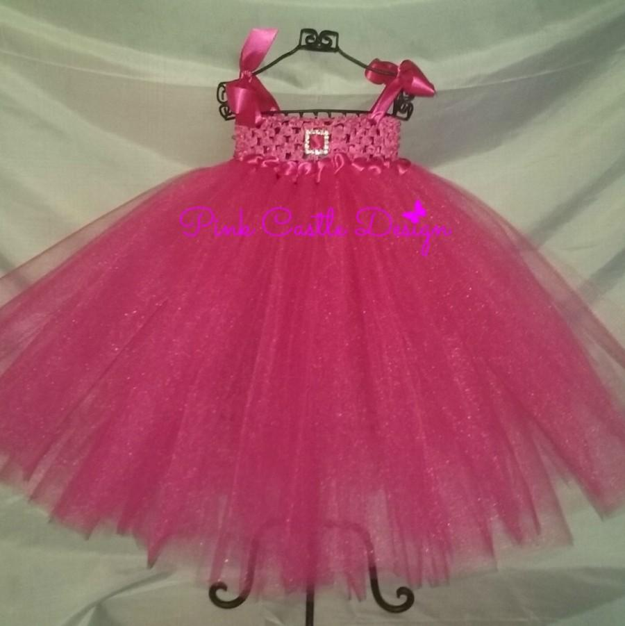 Mariage - Fuchsia Dress,Rhinestone Buckle,Fun Satin Straps,Satin Overlay,Bow in Back,Infant Pageant,Pink Castle Design,Sparkly Baby Dress,Trendy,Bling