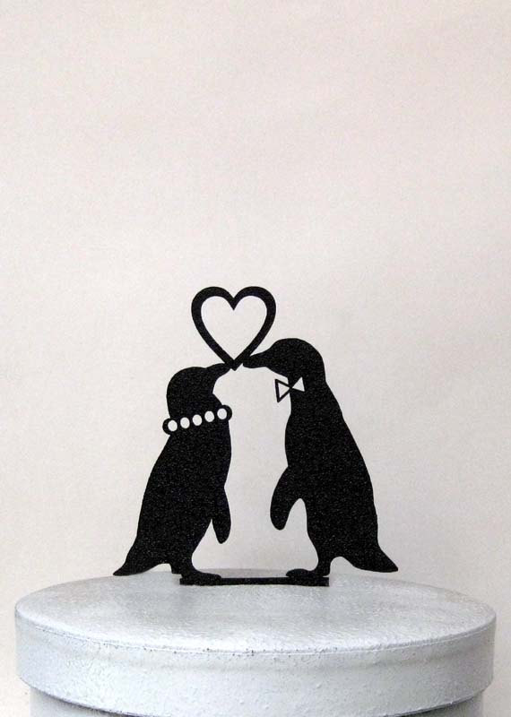 Mariage - Wedding Cake Topper - Penguins in Love wedding cake topper