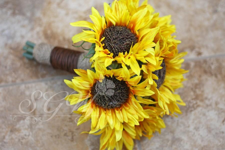 Mariage - MADE TO ORDER - Sunflower Wedding Bouquet - Rustic Country Chic Wedding