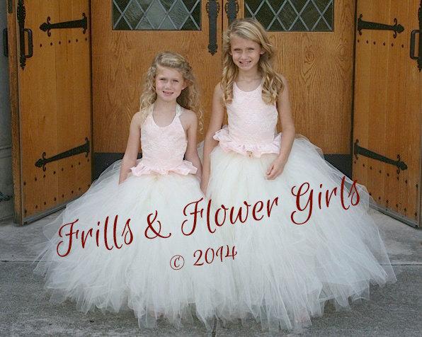 Mariage - Blush Satin with Ivory Lace Halter Tutu Dress Flower Girl Dress Sizes 2, 3, 4, 5, 6 up to Girls Size 12