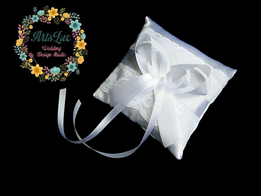 زفاف - Wedding pillow for rings in white - Satin wedding pillow - Wedding ceremony - White wedding - Wedding Gift idea - Satin ring cushion