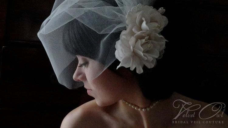 Bridal Gardenia Hair Clip Or Comb Double Flower Fascinator Flowers With  Lace And Detachable Tulle Birdcage Veil Winter Bride SALE   LOLAH
