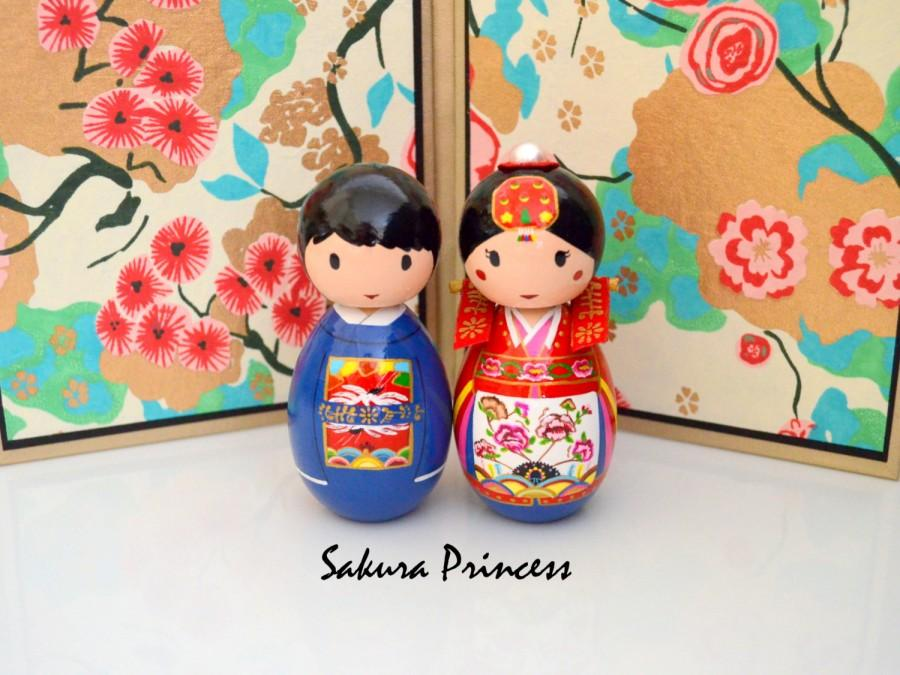 "Mariage - Korean Bride and Groom Wedding Dolls - Cake Toppers - Table Decor - Keepsake - Collectible - 3.75"" tall"