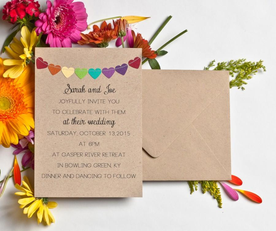 Wedding Invitations Rainbow Stationery Kraft Invitations Simple ...