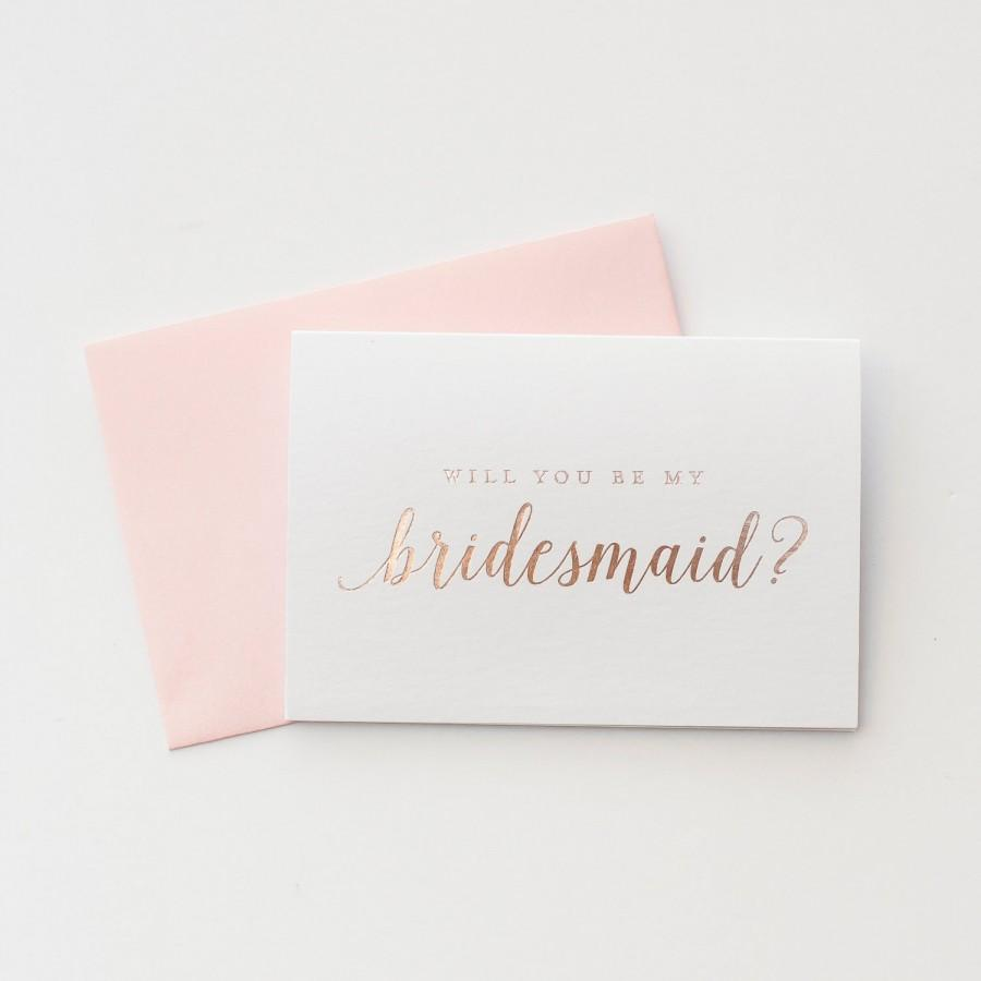 Свадьба - Rose Gold Foil Will You Be My Bridesmaid card bridal party card foil stamped notecard wedding party card bridal party bridesmaid invitation