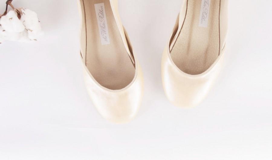 Pearl White Ivory Bridal Ballet Flats