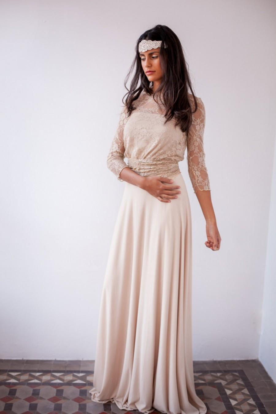 boho wedding dress nude wedding dress Wedding Dress Nude Champagne Peach Ivory Bridal Dress Two Piece Dress Long Sleeves Dress Melanie