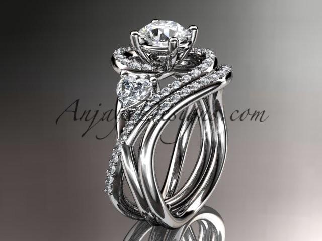 Boda - Unique platinum diamond engagement set, wedding ring ADLR320S